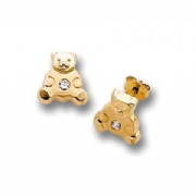 9ct gold Cubic Zirconia Teddy bear stud earrings